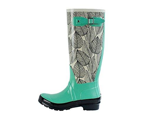 Women's Rubber Rain Boots, Monumenta Pattern (10, Mint Leaf) (Womens Wide Calf Hunter Boots)