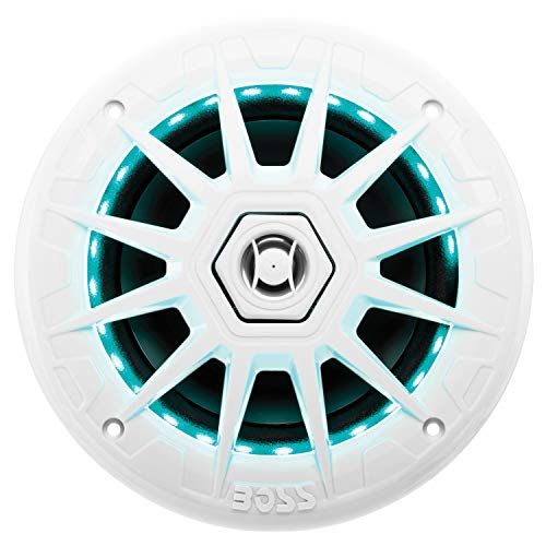 Boss Audio Systems MRGB65 200 Watt Per Pair, 6.5 Inch, Full Range, 2 Way Marine Speakers, Sold in Pairs Multi Color LED Illumination with Wireless Radio Frequency Remote