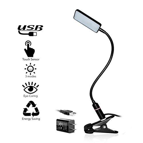 LED Clip Lamp – 3 Brightness Mode – Sensor Touch – USB Plug & Adapter – Black by EazyClips (Image #7)