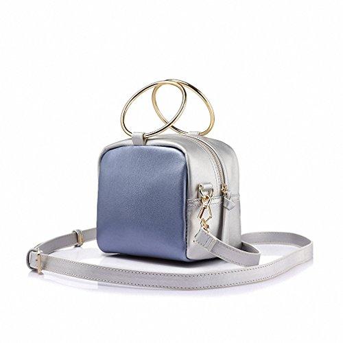 Women shoulder crossbody bags ladies small messenger bags female metal ring handbag Steelblue Mini Max Length<20cm