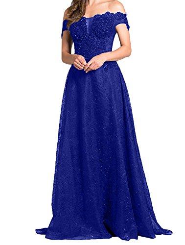 A Festlichkleider Abendkleider Charmant Brautmutterkleider Hochwertig Abschlussballkleider Langes Blau Promkleider Linie Royal Damen UXwxqHR