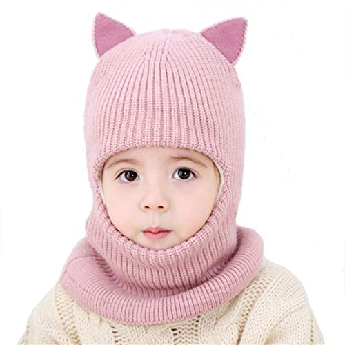 Girls Winter Warm Hats Balaclavas Hat Scarf Earflap Hood Scarves Soft Thermal Fleece Windproof Ski Beanie Skull Caps (Pink)