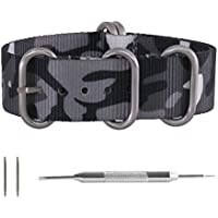 Benchmark Straps 22mm Gray & Black Camouflage (Camo) Ballistic Nylon 5-Ring Zulu Style Watchband + Spring Bar Pin Removal Tool