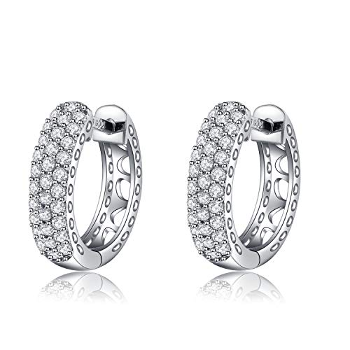 (DYUNQ CZ Cubic Zirconia Girls Hoop Circle Earrings Platinum Plated Sterling Silver Small Hoop Cuff for Women)