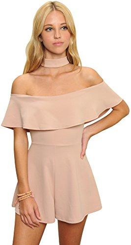 Trend Director Women's Pink Strapless Off Shoulder Choker Neck Romper Jumpsuit - Romper Coachella