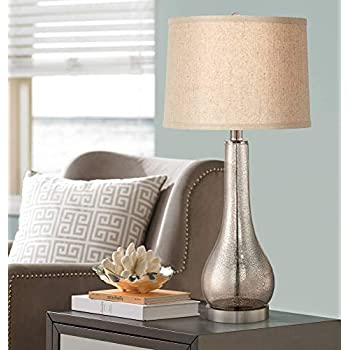 Janna Coastal Table Lamp Mercury Glass Gourd Silver Taupe