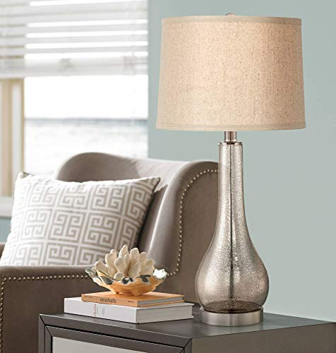 - Janna Coastal Table Lamp Mercury Glass Gourd Silver Taupe Linen Drum Shade for Living Room Family Bedroom Bedside - 360 Lighting