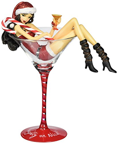 Pavilion Gift Company 9-1/4-Inch Naughy or Nice Cocktail Glass with Tall Peppermint Martini ()