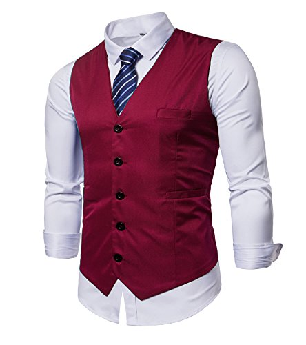 - AOYOG Men's Business Suit Vests Waistcoat Slim Fit for Suit Or Tuxedo, Red, Medium
