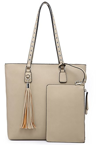 (Shoulder Purse,Hobo Bag Set Tote Handbag for Women Large Chic Classic Elegant Medium Size with Wallets Tassels (Medium, Beige))
