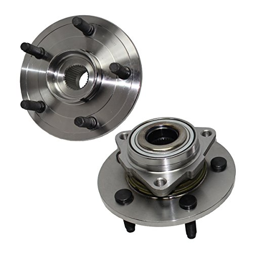 (Detroit Axle - Brand New Pair Front Wheel Hub and Bearing Assemblies, NO ABS on HUB fits [2002-2008 Dodge Ram 1500 No ABS on Hub 5-Lug])
