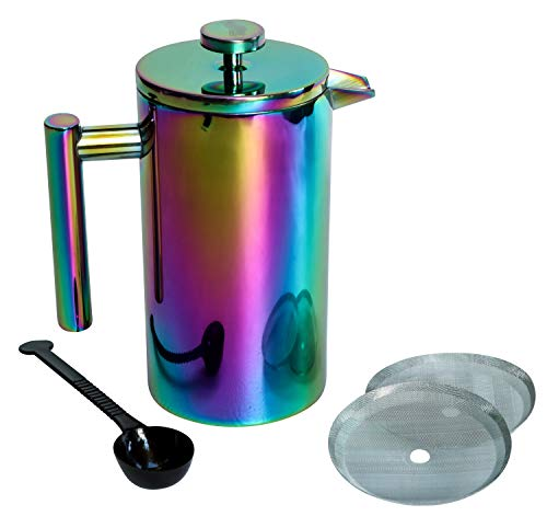 (French Press Coffee Maker, Rainbow - Iridescent Stainless Steel - Large (34oz/ 1L) Double-Wall Insulated Carafe Tea Pot, Cold Brew - Paperless Travel/Camping Brewer Kit Incl Scoop + 2 Extra Filters)