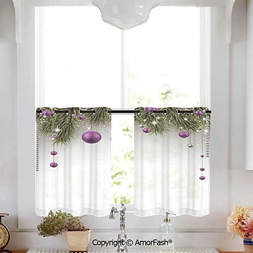 (AmorFash Christmas Decorations Small Window Sheer Drapes with Ring Top for Basement,Sold by 2 Pieces,W52 x L45-Inch,Tree Decorations Tinsel and Ball with Gift Wrap Ribbon Picture)