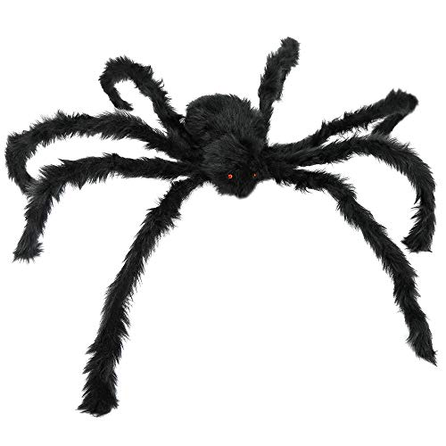 Props For Halloween Party (JAMIEWIN Giant Spider for Halloween Decoration, 55 inch 140cm Largest Fake Hairy Spider Props, Scary Outdoor Indoor Decor House Party Yard)