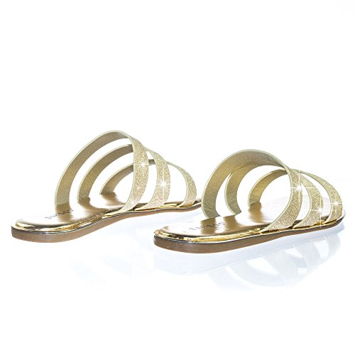 Triple Strap Flat w Strappy On 3 Womens Gold Glitter Sandal Double amp; Slip Bamboo Strap Rvwz4z