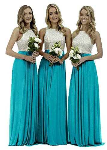 Lace Bridesmaid Dresses Long Chiffon O Neck Backless Formal Women Evening Prom Gown Turquoise 2