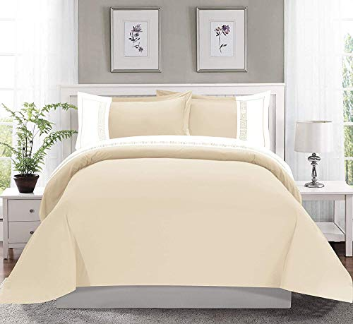 Celine Linen  Luxury Super-Soft Coziest 1500 Thread Count Egyptian Quality 3-Piece Greek Embroidered Duvet Cover Set, (Insert Comforter Protector) Wrinkle-Free, King/California King, Cream/White (Luxury Linens)