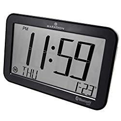 MARATHON CL800001GH Atomic Bluetooth Clock System - Brushed Graphite - Batteries Included
