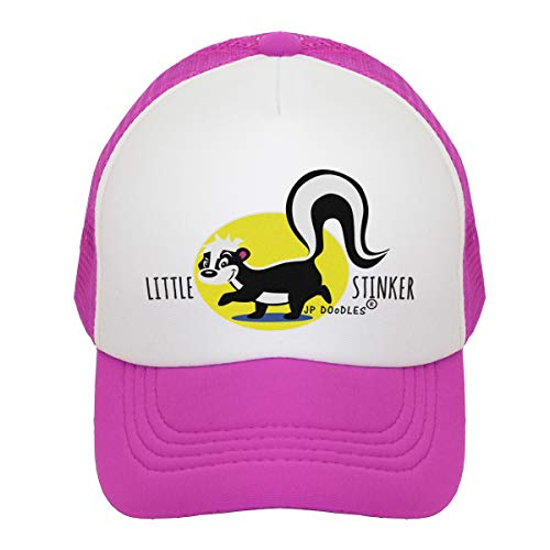 Skunk Stinker - JP DOoDLES Little Stinker Skunk on Kids Trucker Hat. Kids Baseball Cap is Available in Baby, Toddler, and Youth Sizes.... (HOT Pink, Mini (12-24 Months))