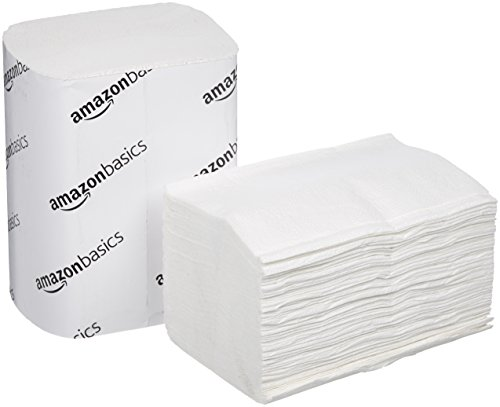 (AmazonBasics V-Fold Dispenser Napkins, White, 250 Napkins per Pack,)