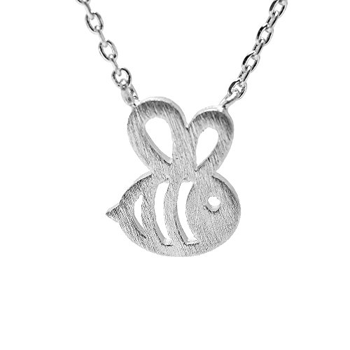 Spinningdaisy Handcrafted Brushed Metal Cut Out Bumble Bee Necklace Silver