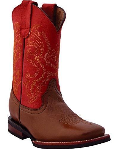 Ferrini Boys' Red/Cowhide Cowboy Boot Square Toe Brown 1