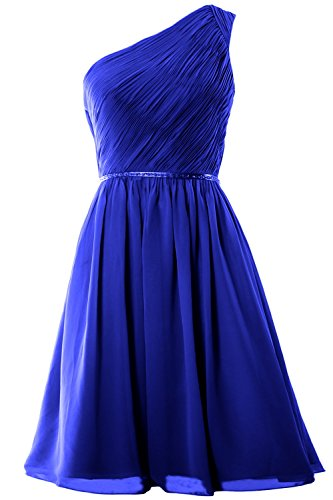 MACloth Women One Shoulder Chiffon Short Bridesmaid Dress Wedding Party Gown Azul Real