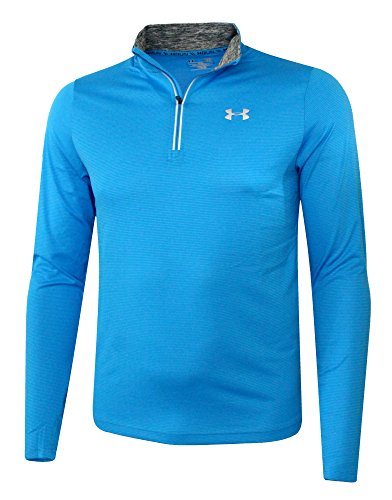 Under Armour Mens UA Athletic Running Shirt 1/4 Zip Anti Odor Reflective Top (S, Blue) by Under Armour (Image #1)