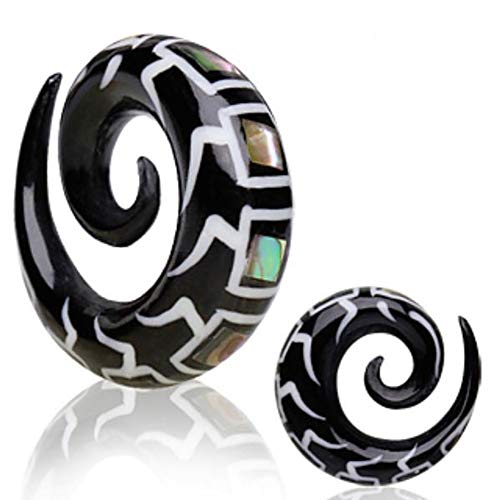 Bone Inlay Body Jewelry Tunnels - Dynamique 00g Pair of Spiral Organic Horn Tapers with Abalone and Bone Inlay