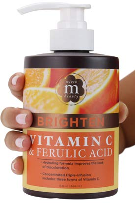 Mirth Beauty Vitamin C Cream for Face and Body. Intensive moisturizer with Coconut Oil, and Aloe Vera for age spots, skin discoloration, and dry skin. Large 15 Fl oz jar with pump. (The Moisturizer C Sun Vitamin)