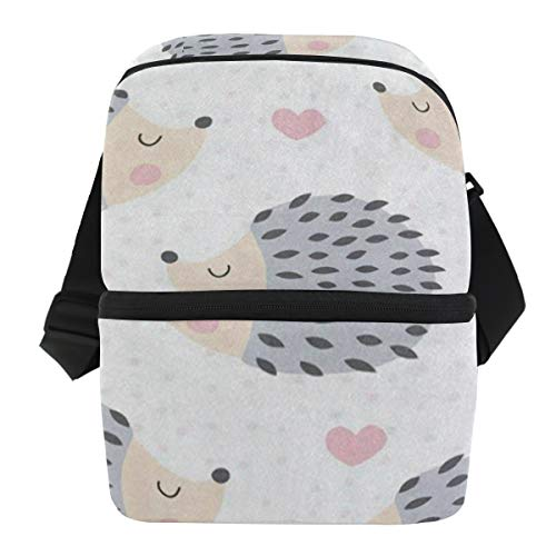 - Lunch Bag Cartoon Cute Hedgehog Love Heart Reusable Cooler Bag Adult Leakproof Lunch Storage Zipper Tote Bags for Beach