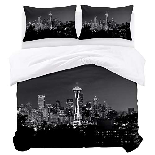 BABE MAPS 3 Piece Full Size Duvet Cover Set Seattle Space Needle Bedding Sets Ultra Soft Breathable Extremely Durable Twill Plush for Childrens/Kids/Teens/Adults -