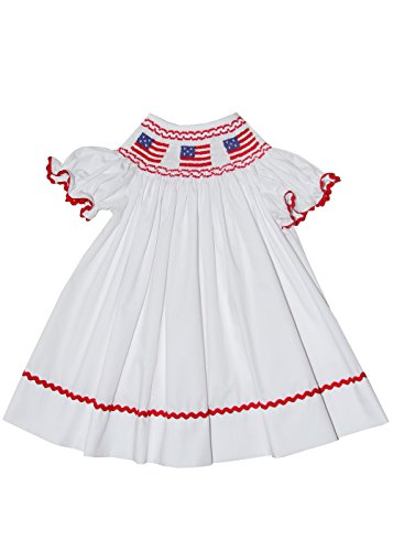 Carouselwear Girls Smocked USA Flag White Bishop Dress Independence Day 4th of July