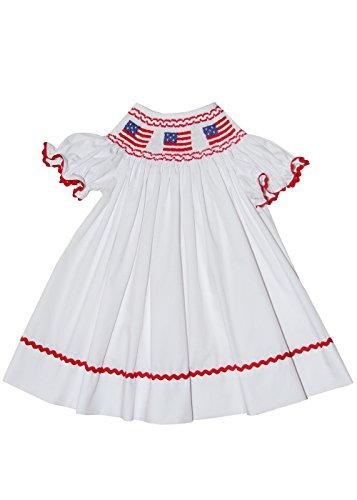 White Smocked Bishop Dress - Carouselwear Girls Smocked USA Flag White Bishop Dress Independence Day 4th of July