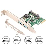 Ubit U3N02S with 2 Ports USB 3.0 Super Fast 5Gbps PCI Express (PCIe) Expansion Card for Windows XP、7、Vista、8、8.1、10 Desktop Computer-Build in Self-Powered Technology-No Need Additional Power Supply