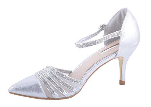 Argent Brillantes Bout Pointu Diamantes Sandales Chaussures de Mariage