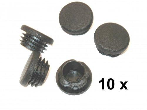 10 Lamellenstopfen rund Ø 60mm für Rohrwandstärke 1,6-2,8mm  schwarz Kappen