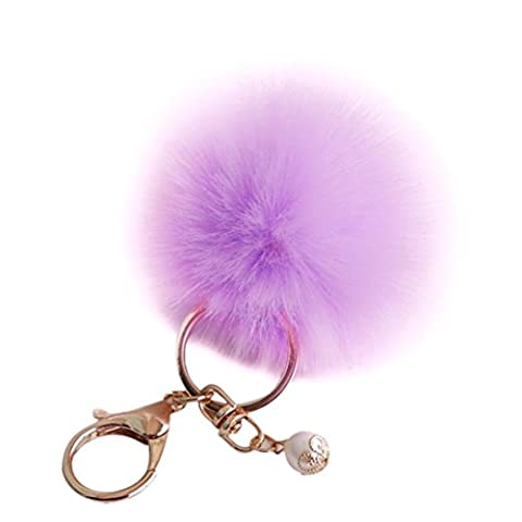 Key Chain,Elevin(TM) Handbag Rabbit Fur Luxury Plush Car Key Ring Car Key Pendant Keychain (Purple) - Pearl Graduation Charm