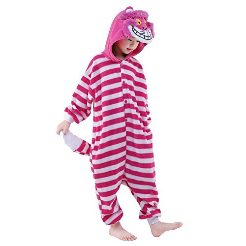 NEWCOSPLAY Kids Plush One Piece Cosplay Onesies Costume (115, Cheshire -