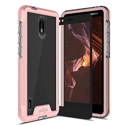 Zizo Ion Series Compatible with Nokia 3.1 C Case Military Grade Drop Tested with Tempered Glass Screen Protector Rose Gold Clear (Mobile Phone Cases Nokia)