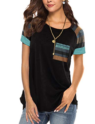 Black Short Sleeve Shirt Round Neck T Shirts Color Block Striped Casual Blouses Tops -