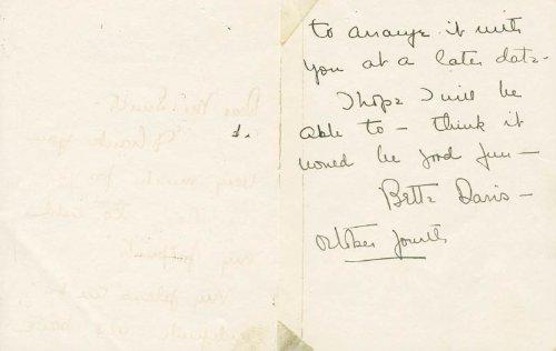 Bette Davis – Autograph Letter Signed