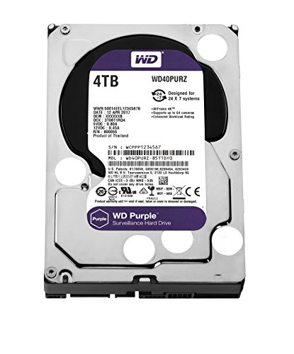 WD Purple 4TB Surveillance Hard Disk Drive - 5400 RPM Class SATA 6 Gb/s 64MB Cache 3.5 Inch - WD40PURZ by Western Digital
