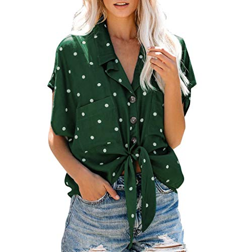 Womola Women's Summer Short Sleeve Shirts V Neck Dot Print Knot Button Down Tee Blouse Tops(Green,XXL)