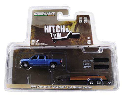 2018 Chevrolet Silverado 4x4 Pickup Truck Blue with Flatbed Trailer Hitch & Tow Series 15 1/64 Diecast Models by Greenlight 32150 C
