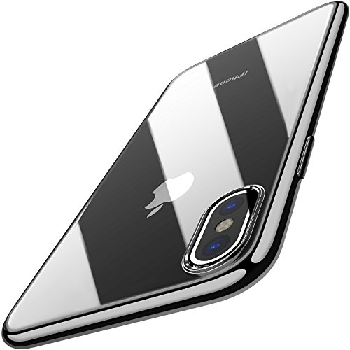 TOZO for iPhone X Case, Crystal Clear Soft TPU Gel Skin Ultra-Thin [Slim Fit] Transparent Flexible Premium Cover [Wireless Charger Compatible] for iPhone 10 / X [Space Black Plating Edge]