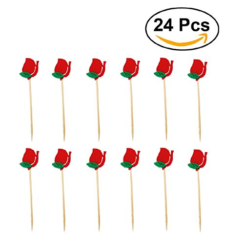 JANOU Red Rose Flower Cupcake Toppers Picks Cake Decoration for Valentine's Day Wedding Birthday Party Decoration Pack 24pcs