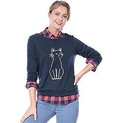 Allegra K Women's Round Neck Cat Printed Sweatshirt XL Blue