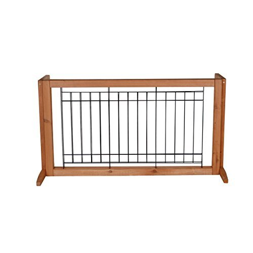 Adjustable Solid Wood Construction Freestanding Pet Gate Fence Dog Gate Indoor by Everyday Big Deal (Image #1)