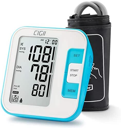 Blood Pressure Monitor by CIGII Blood Pressure Monitor Upper arm,bp Monitor,Accurate Automatic Blood Pressure with LCD Screen Display - FDA Approval (Arm Cuff 22-40cm, 120 Sets Memory)
